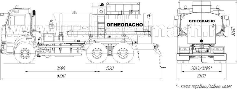 Габаритный чертеж АТЗ-10 Камаз 65115-3082-48(A5)