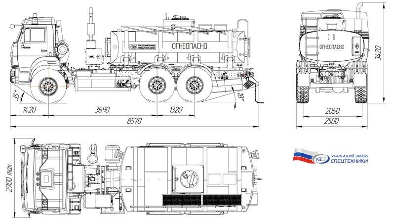 Габаритный чертеж автотопливозаправщика АТЗ-10 Камаз 43118-3027-50 (002)