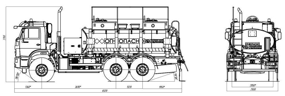 Габаритный чертеж бензовоза АТЗ-10 Камаз 43118-3938-50 (010)