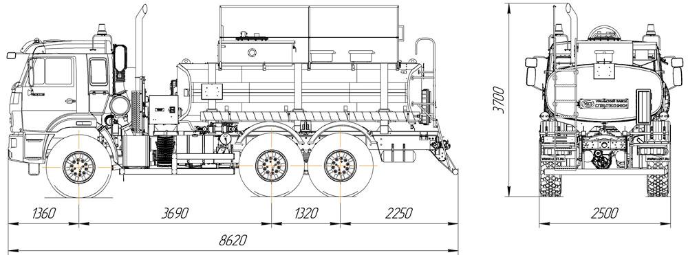 Габаритный чертеж автотопливозаправщика АТЗ-10 Камаз 43118-3949-50