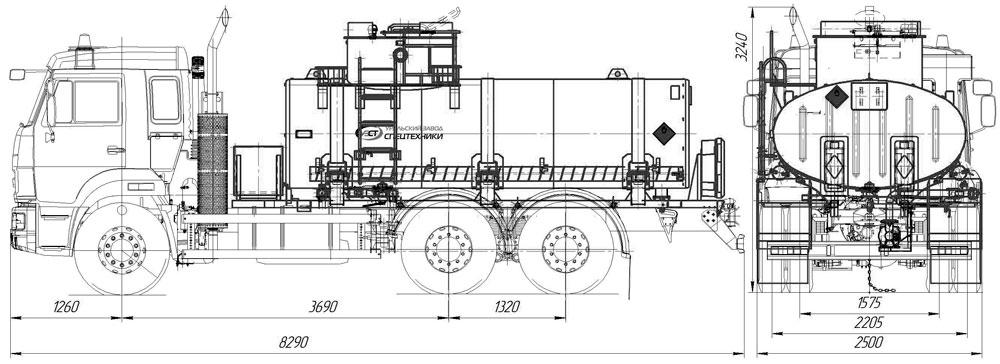 Габаритный чертеж АТЗ-10 Камаз 65115-3964-48(A5)