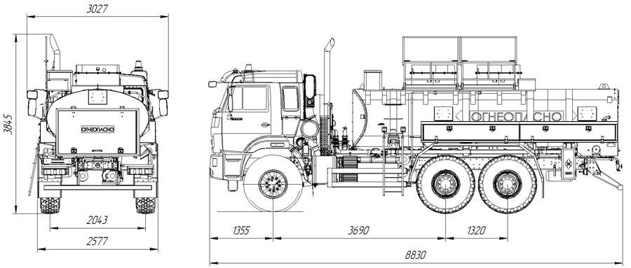 Габаритный чертеж автотопливозаправщика АТЗ-10 Камаз 43118-3949-50 (ФСБ) (012)