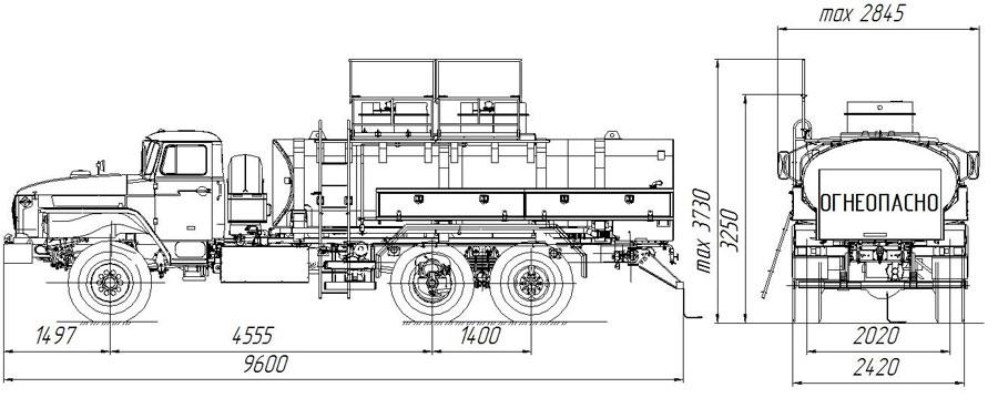 Габаритный чертеж топливозаправщика АТЗ-10 Урал 4320-1812-30 (для ФСБ)