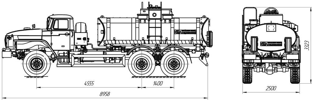 Габаритный чертеж автотопливозаправщик АТЗ-10 Урал 4320-1912-60Е5