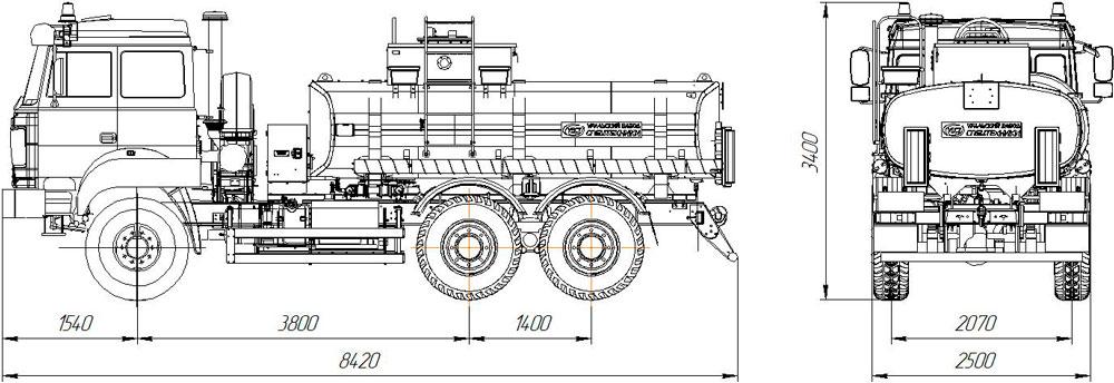 Габаритный чертеж автотопливозаправщика АТЗ-10 Урал 5557-4512-80Е5