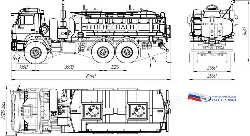 Габаритный чертеж автотопливозаправщика АТЗ-11 Камаз 43118-3027-50 (001)