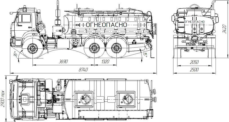 Габаритный чертеж автотопливозаправщика АТЗ-11 Камаз 43118-3027-50 (011)