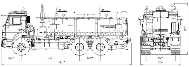 Габаритный чертеж автотопливозаправщика АТЗ-11 Камаз 65115-773082-42 (018)