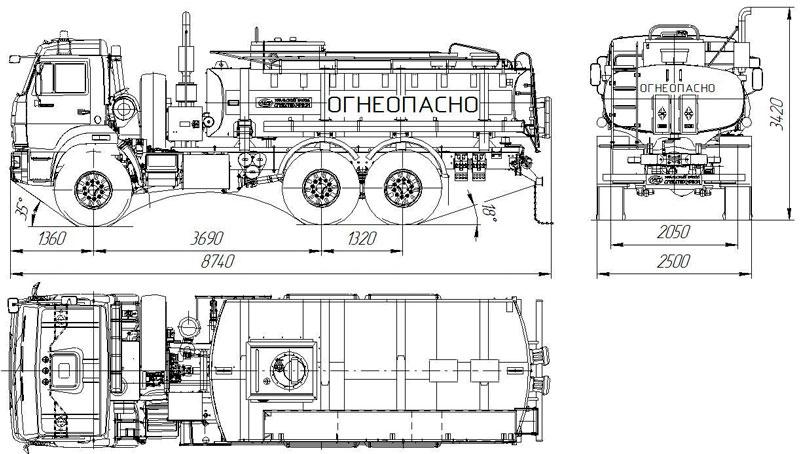 Габаритный чертеж автотопливозаправщика АТЗ-11 Камаз 43118-3027-50