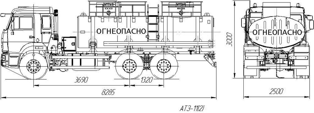 Габаритный чертеж бензовоза Камаз 65115-3052-48(A5) (2 секции)
