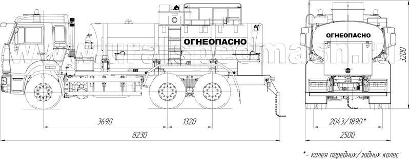 Габаритный чертеж АТЗ-11 Камаз 65115-3052-48(A5)