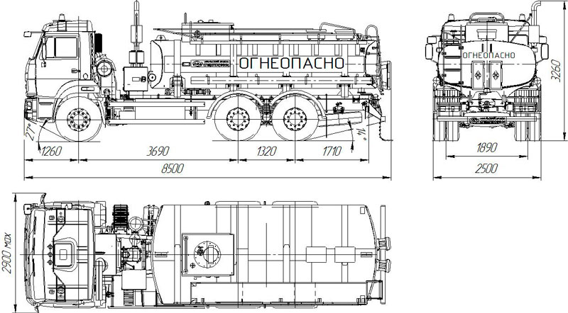Габаритный чертеж автотопливозаправщика АТЗ-11 на шасси Камаз 65115-773082-42 (003)
