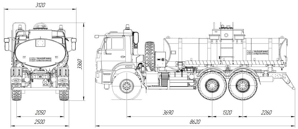 Габаритные размеры автотопливозаправщика АТЗ-11 Камаз 43118-3027-50 (015, 1 секция, СВН-80)