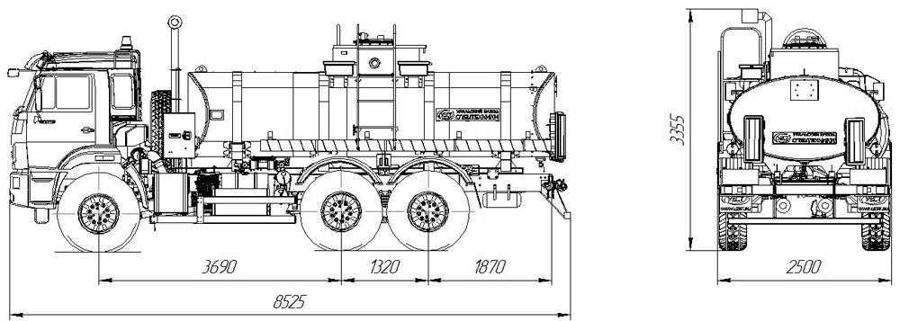 Габаритный чертеж автотопливозаправщика АТЗ-11 Камаз 43118-3011-50