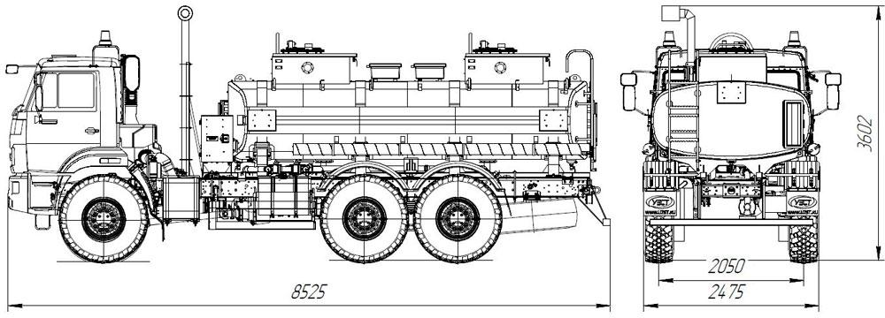 Габаритный чертеж автотопливозаправщика АТЗ-11 Камаз 43118-3011-50 (036)