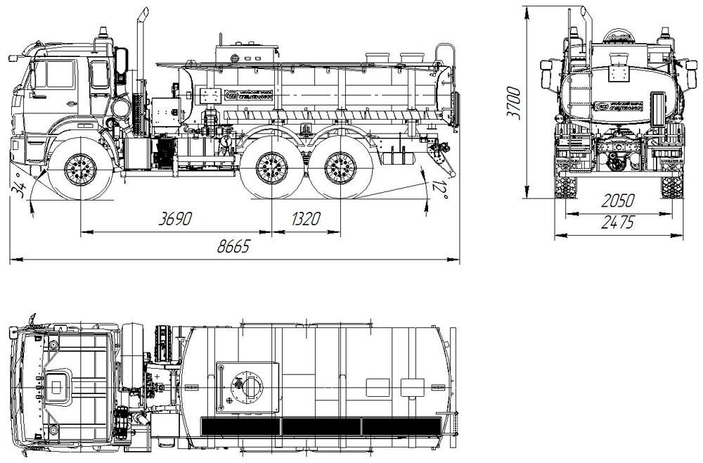 Габаритный чертеж автотопливозаправщика АТЗ-11 Камаз 43118-3949-50