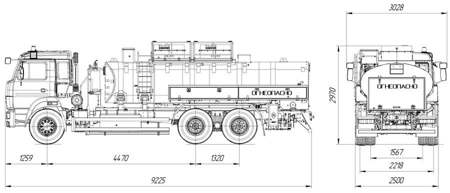 Габаритный чертеж автотопливозаправщика АТЗ-11 Камаз 65115-3094-50 для ФСБ