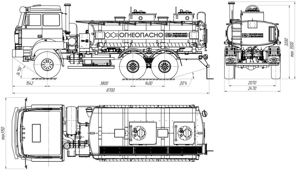 Габаритный чертеж бензовоза АТЗ-11 Урал 5557-4112-80Е5 (025)