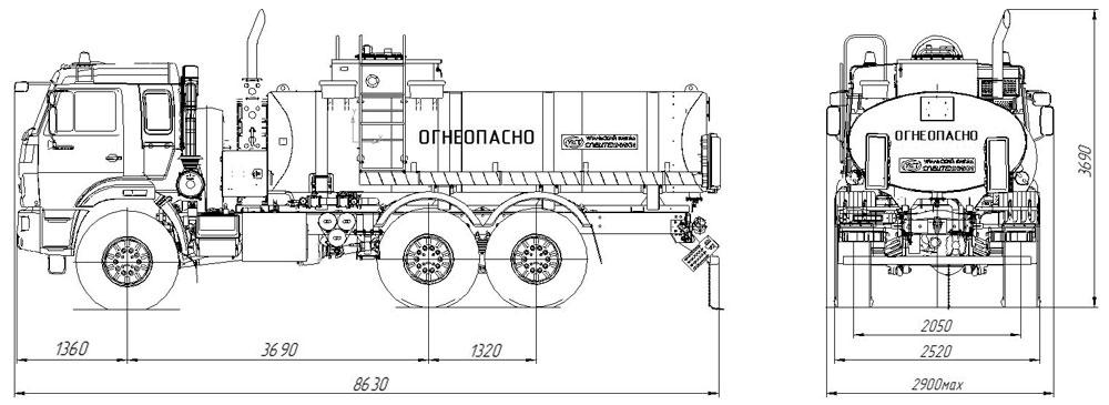 Габаритный чертеж автотопливозаправщика АТЗ-11,2 Камаз 43118-3949-46 (001)