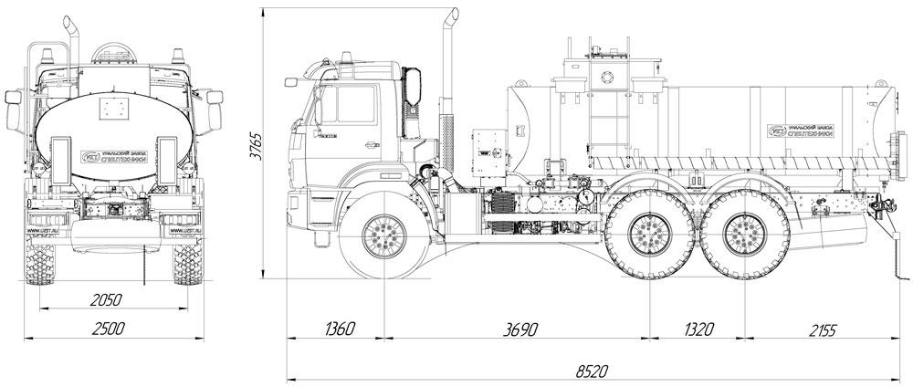Габаритный чертеж автотопливозаправщика АТЗ-11,2 Камаз 43118-3938-50 (003)
