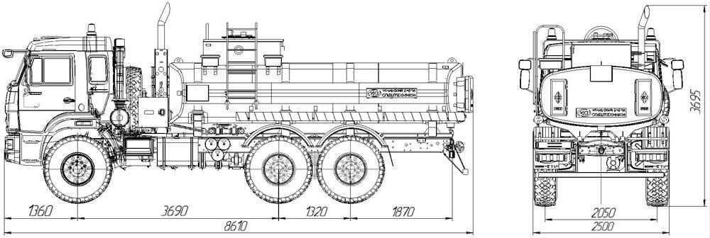 Габаритный чертеж автотопливозаправщика АТЗ-11,5 Камаз 43118-3027-50 (005)