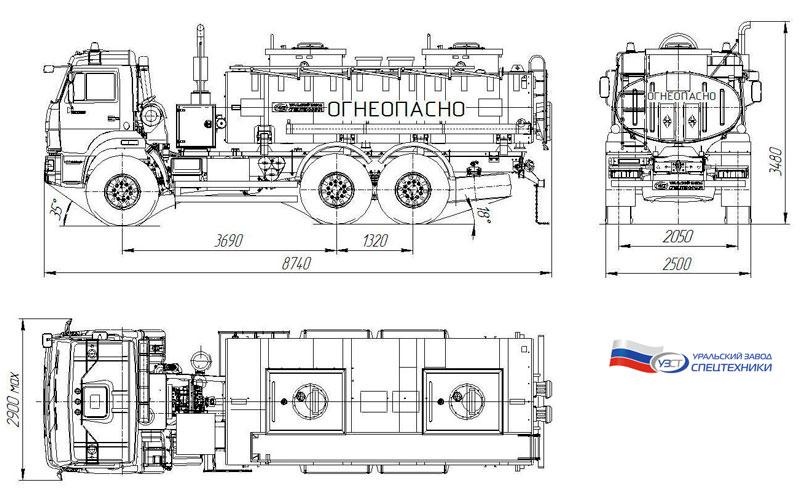 Габаритный чертеж автотопливозаправщика АТЗ-11,5 Камаз 43118-3027-50 (001)