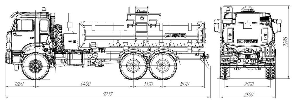 Габаритный чертеж автотопливозаправщика АТЗ-12 Камаз 43118-3078-46 (010)