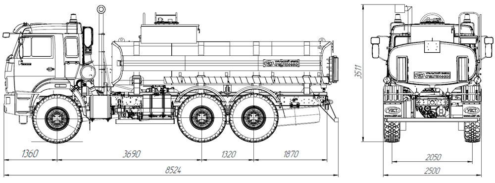 Габаритный чертеж автотопливозаправщика АТЗ-12 Камаз 43118-3011-50 (019)