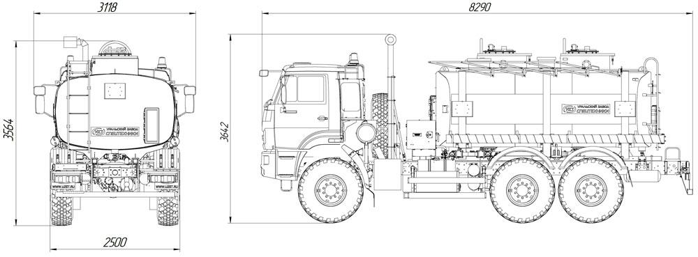 Габаритный чертеж автотопливозаправщика АТЗ-12 Камаз 43118-3011-50 (020)