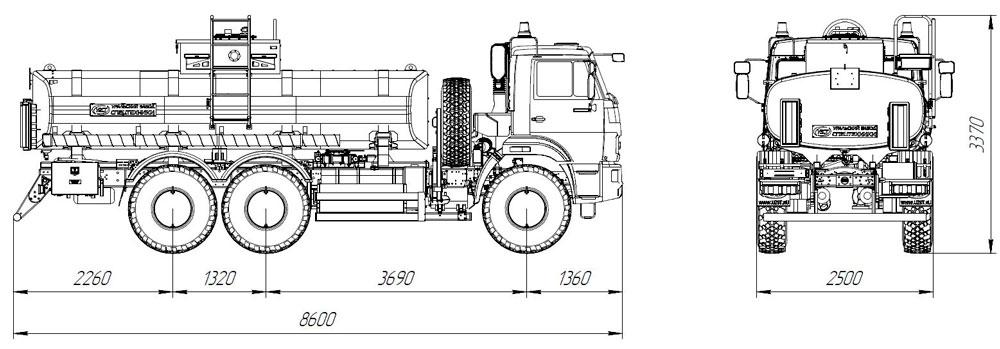 Габаритный чертеж автотопливозаправщика АТЗ-12 Камаз 43118-3011-50