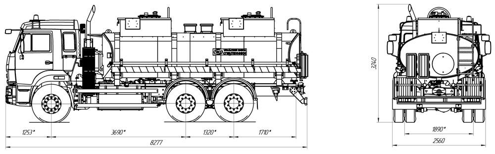 Габаритный чертеж топливозаправщика АТЗ-12 Камаз 65115-3964-50