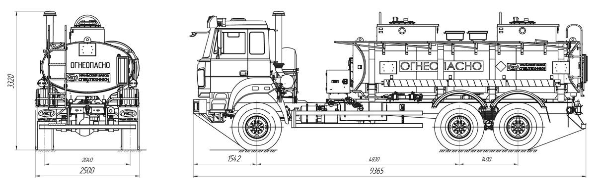 Габаритный чертеж бензовоза АТЗ-12 Урал 4320-4972-82Е5 (018)