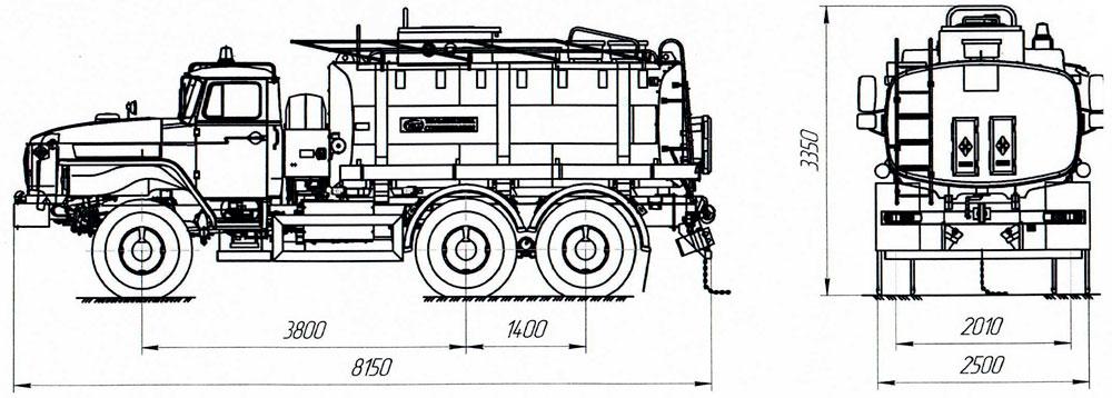 Габаритный чертеж автотопливозаправщика АТЗ-12 Урал 5557-1112-60Е5