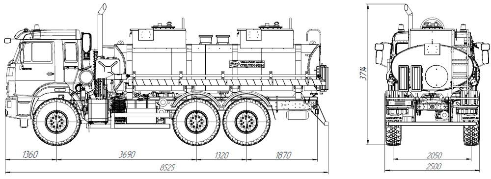 Габаритный чертеж топливозаправщика АТЗ-12 Камаз 43118-3949-50