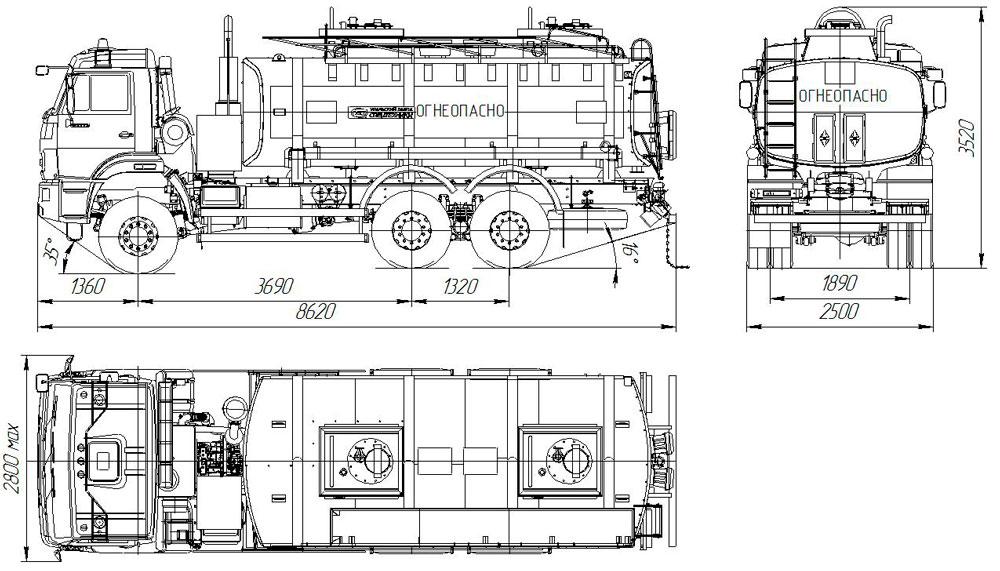 Габаритный чертеж автотопливозаправщика АТЗ-16 Камаз 65111-3960-46 (002)