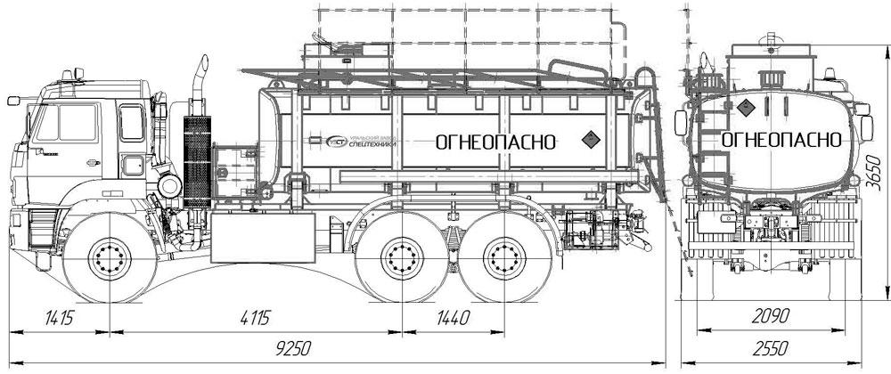Габаритный чертеж топливозаправщика АТЗ-16 65224-3971-53