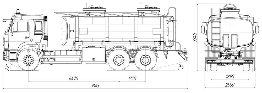 Габаритный чертеж автотопливозаправщика АТЗ-16 Камаз 65115-3094-48(A5)