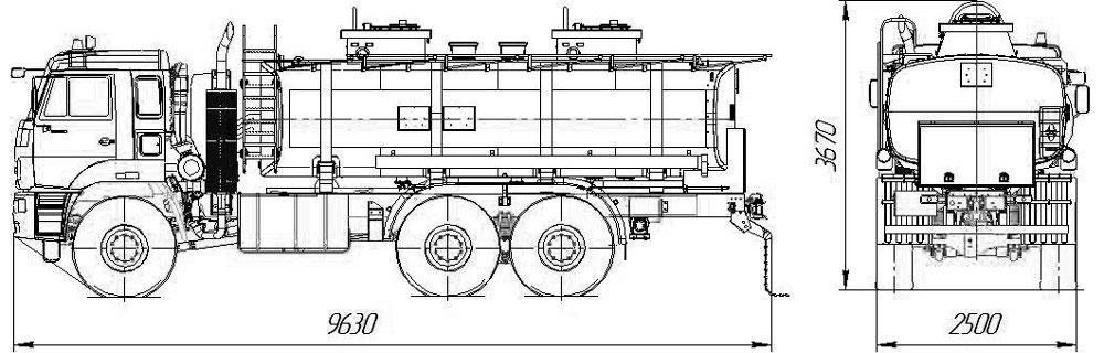 Габаритный чертеж топливозаправщика АТЗ-17 на шасси Камаз 65224-3971-53