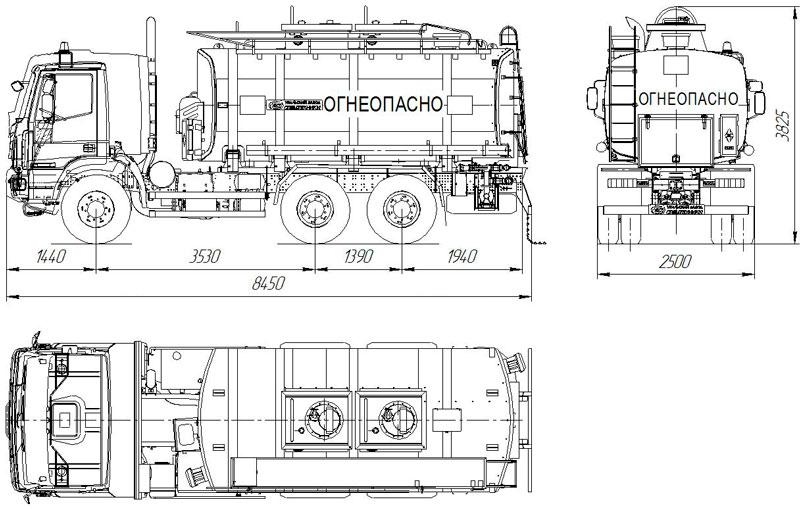 Габаритный чертеж автотопливозаправщика АТЗ-18 Iveco Trakker AT380T (001)