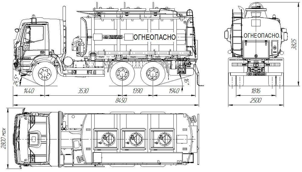 Габаритный чертеж автотопливозаправщика АТЗ-18 Iveco Trakker AT380T (002)
