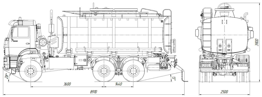 Габаритный чертеж автотопливозаправщика АТЗ-20 Камаз 6522-3010-43