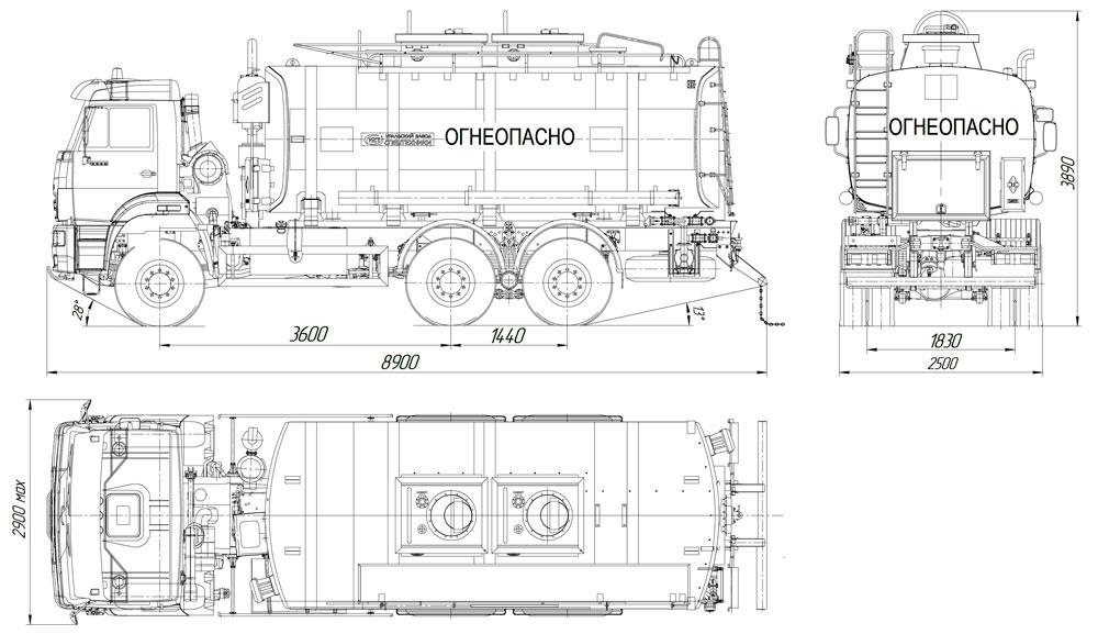Габаритный чертеж автотопливозаправщика АТЗ-20 Камаз 6522-3010-43 (001)