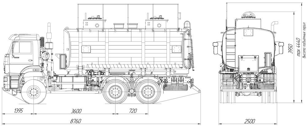 Габаритный чертеж автотопливозаправщика  АТЗ-20 Камаз 6522-RG