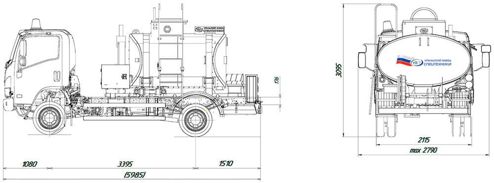 Габаритный чертеж автотопливозаправщика АТЗ-4,5 ISUZU (002)