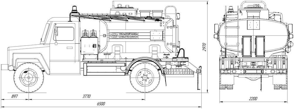 Габаритный чертеж автотопливозаправщика АТЗ-4,9 ГАЗ 33086