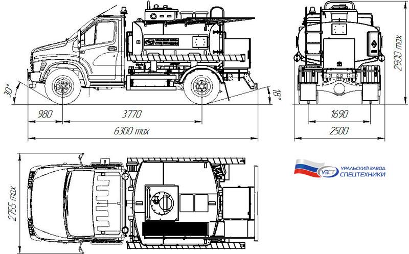 Габаритный чертеж автотопливозаправщика АТЗ-4,9 на шасси ГАЗон NEXT C41R13