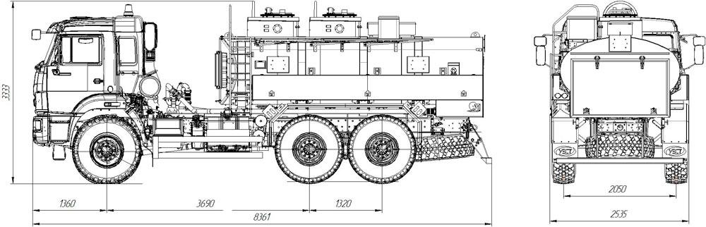 Габаритный чертеж топливозаправщика АТЗ-6,5 Камаз 5350-3054-66(D5) (ФСБ)