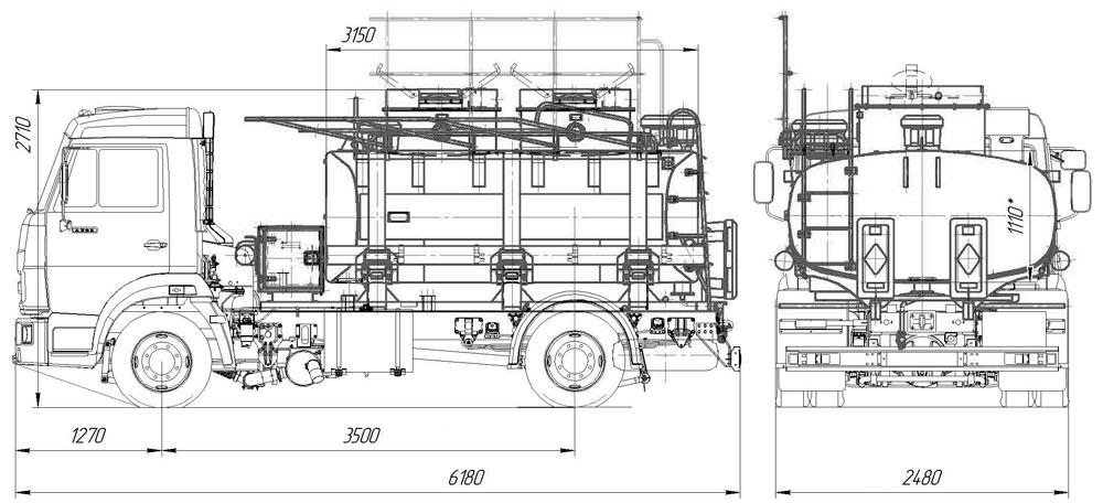 Габаритный чертеж топливозаправщика АТЗ-6,5 Камаз 4308-3016-25 (С4)