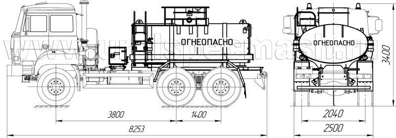Габаритный чертеж АТЗ-7,5 Урал 4320-4112-80Е5