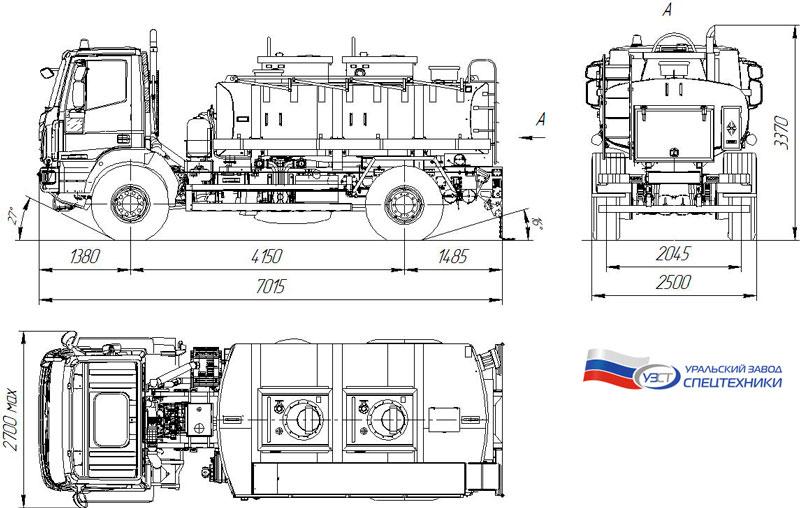 Габаритный чертеж топливозаправщика АТЗ-8 на шасси Iveco EuroCargo (002) – 2 секции